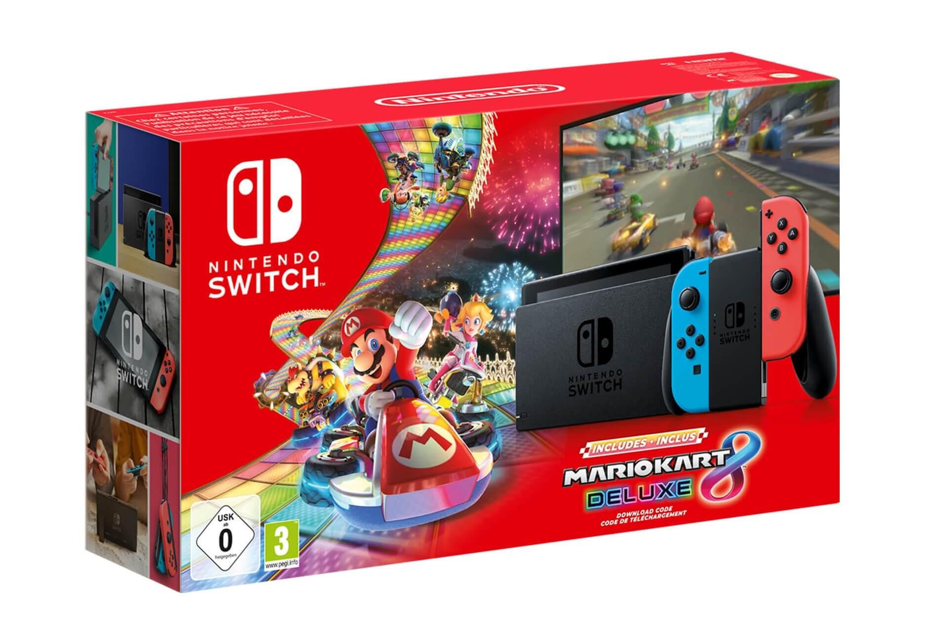 New Nintendo Switch Neon Red Mario Kart 8 Deluxe Bundle